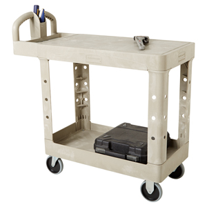 Small 2 Tier Heavy Duty Utility Cart w/Flat Shelf - FG4505