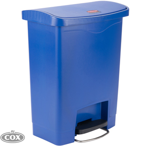 Slim Jim Step-On Pedal Operated Resin Blue Front 30 Litre Rubbish Bin