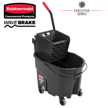 Executive Series WaveBrake Black Mop Bucket with Side Press Wringer - 1863896