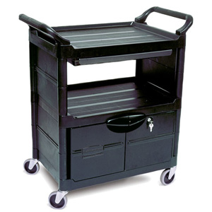 Rubbermaid Service Carts FG3457 Utility Cart with Lockable Doors, Sliding Drawer