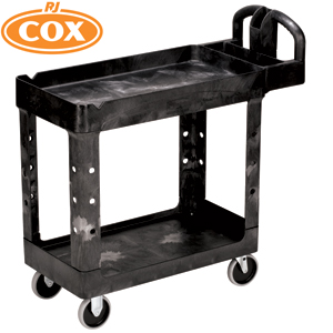 Utility Cart Small 2 Tier Heavy Duty w/Lipped Shelf- FG4500