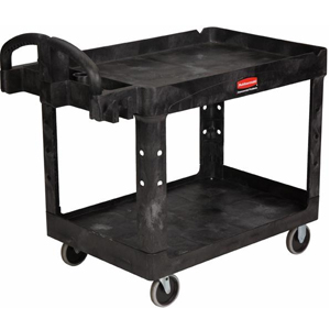 Medium 2 Tier Heavy Duty Utility Cart w/Lipped Shelf - FG4520